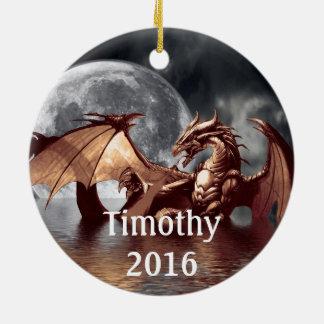 Ornamento da árvore da fantasia da lua do dragão