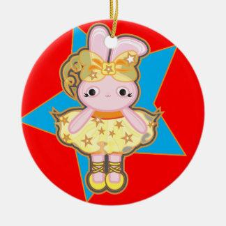 Ornamento da árvore de Natal do círculo com coelho