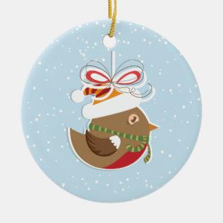 Ornamento da árvore de Natal do pássaro da neve do