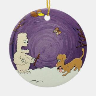 Ornamento da árvore de Natal do Yeti e do cão