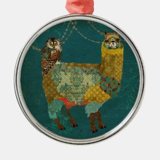 Ornamento da coruja da cerceta da alpaca do ouro