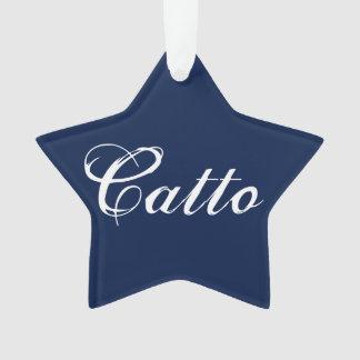 """Ornamento da estrela de """"Catto"""" dos azuis marinhos"""