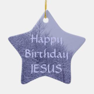 Ornamento da estrela, feliz aniversario Jesus
