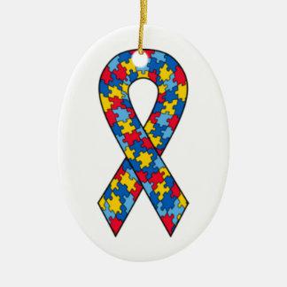 Ornamento da fita do quebra-cabeça do autismo