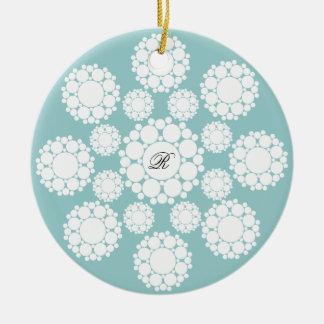 Ornamento da foto do Natal do monograma dos flocos
