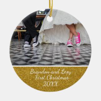 Ornamento da foto do Natal dos casais primeiro