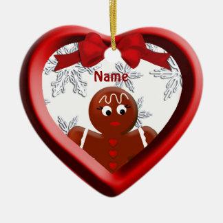 Ornamento da lembrança do floco de neve do coração