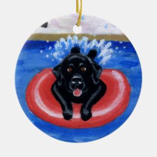 Ornamento da pintura de Labradors da festa na pisc