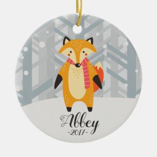 Ornamento da raposa dos enfeites de natal do bebê