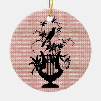 Ornamento da silhueta do pássaro da harpa do