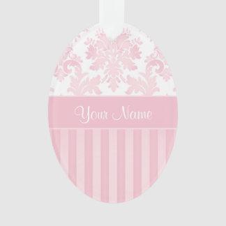 Ornamento Damasco cor-de-rosa personalizado bonito e listras
