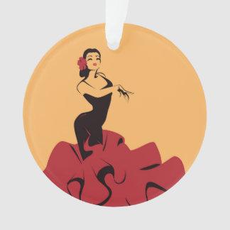 Ornamento dançarino do flamenco em uma pose espectacular