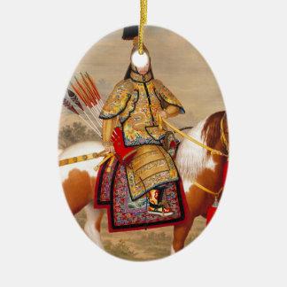 Ornamento De Cerâmica 乾隆帝 do imperador do Qianlong de China na armadura