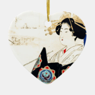 Ornamento De Cerâmica 水野年方 de Mizuno Toshikata, Courtesan - arte
