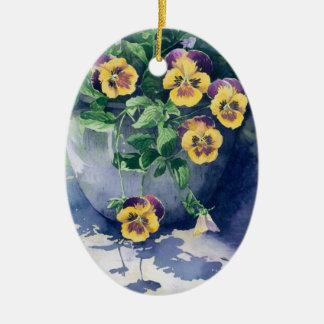 Ornamento De Cerâmica 0011 Pansies no plantador
