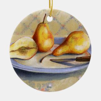 Ornamento De Cerâmica 0012 peras na bandeja
