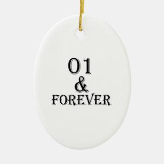 Ornamento De Cerâmica 01 e para sempre design do aniversário