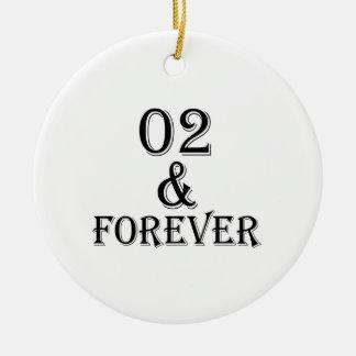 Ornamento De Cerâmica 02 e para sempre design do aniversário