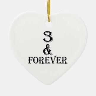 Ornamento De Cerâmica 03 e para sempre design do aniversário