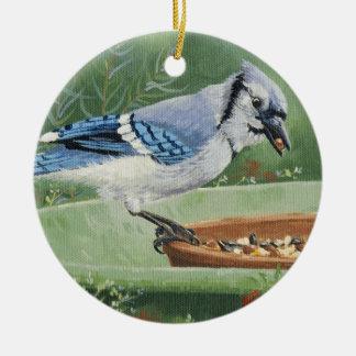 Ornamento De Cerâmica 0481 Jay azul no alimentador