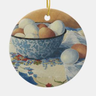 Ornamento De Cerâmica 0492 ovos na bacia azul do esmalte