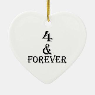 Ornamento De Cerâmica 04 e para sempre design do aniversário