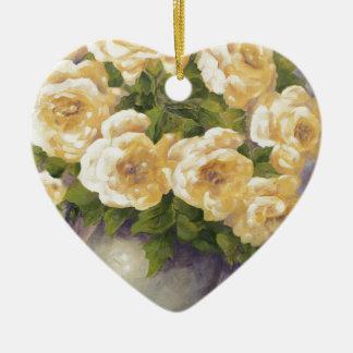 Ornamento De Cerâmica 0548 rosas amarelos no jarro