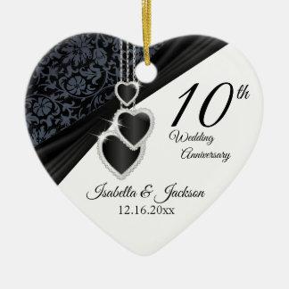 Ornamento De Cerâmica 10o Aniversário de casamento da foto do ônix com