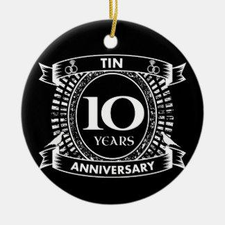 Ornamento De Cerâmica 10o lata do aniversário de casamento