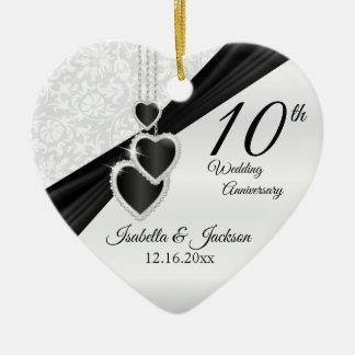 Ornamento De Cerâmica 10o Ônix preto e aniversário de casamento branco