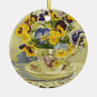 Ornamento De Cerâmica 1187 Pansies no Teacup