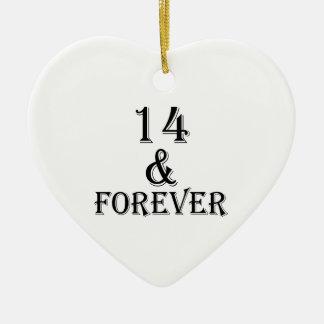 Ornamento De Cerâmica 14 e para sempre design do aniversário