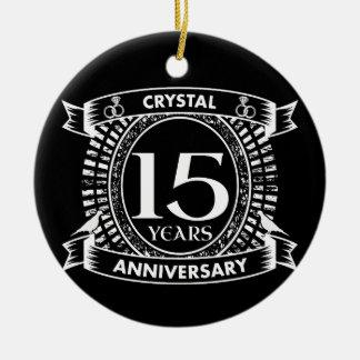 Ornamento De Cerâmica 15o aniversário de casamento preto e branco
