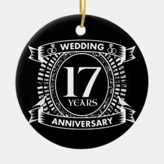 Ornamento De Cerâmica 17o aniversário de casamento preto e branco