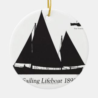 Ornamento De Cerâmica 1891 barcos salva-vidas de navigação - fernandes