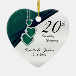 Ornamento De Cerâmica 20o Aniversário de casamento do verde esmeralda