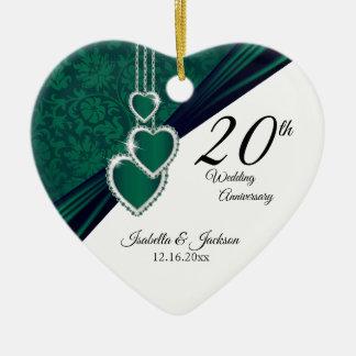 Ornamento De Cerâmica 20o Aniversário de casamento esmeralda da foto com