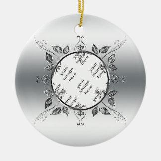 Ornamento De Cerâmica 25o Lembrança da foto   do aniversário de