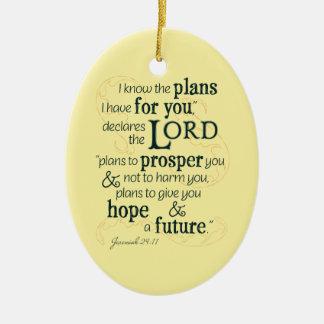 Ornamento De Cerâmica 29:11 de Jeremiah eu sei os planos que eu tenho