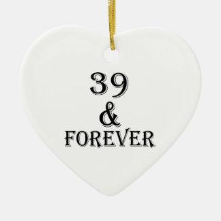 Ornamento De Cerâmica 39 e para sempre design do aniversário