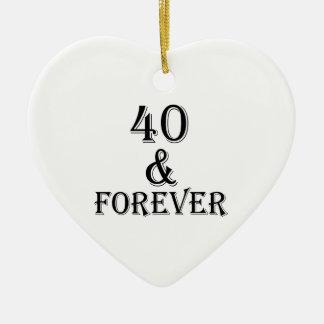 Ornamento De Cerâmica 40 e para sempre design do aniversário