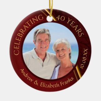Ornamento De Cerâmica 40th Aniversário, 2-Sided, 2-Photo, rubi & ouro