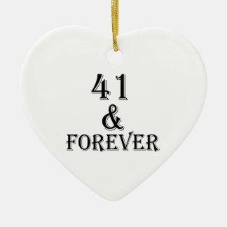Ornamento De Cerâmica 41 e para sempre design do aniversário