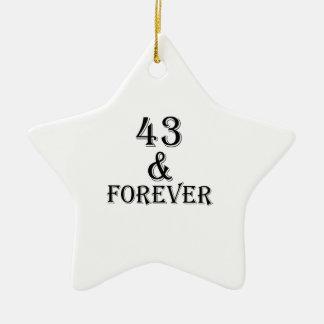Ornamento De Cerâmica 43 e para sempre design do aniversário