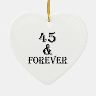 Ornamento De Cerâmica 45 e para sempre design do aniversário