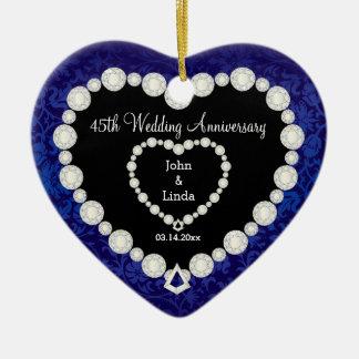 Ornamento De Cerâmica 45th Aniversário de casamento