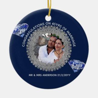 Ornamento De Cerâmica 45th Aniversário de casamento - ADICIONE o azul da