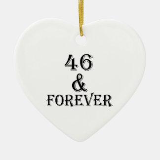 Ornamento De Cerâmica 46 e para sempre design do aniversário