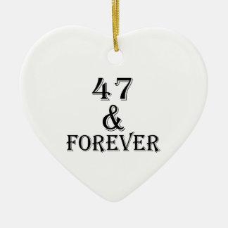 Ornamento De Cerâmica 47 e para sempre design do aniversário