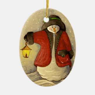Ornamento De Cerâmica 4910 boneco de neve & Natal da lanterna
